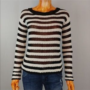 Alice + Olivia Navy/white open crochet sweater